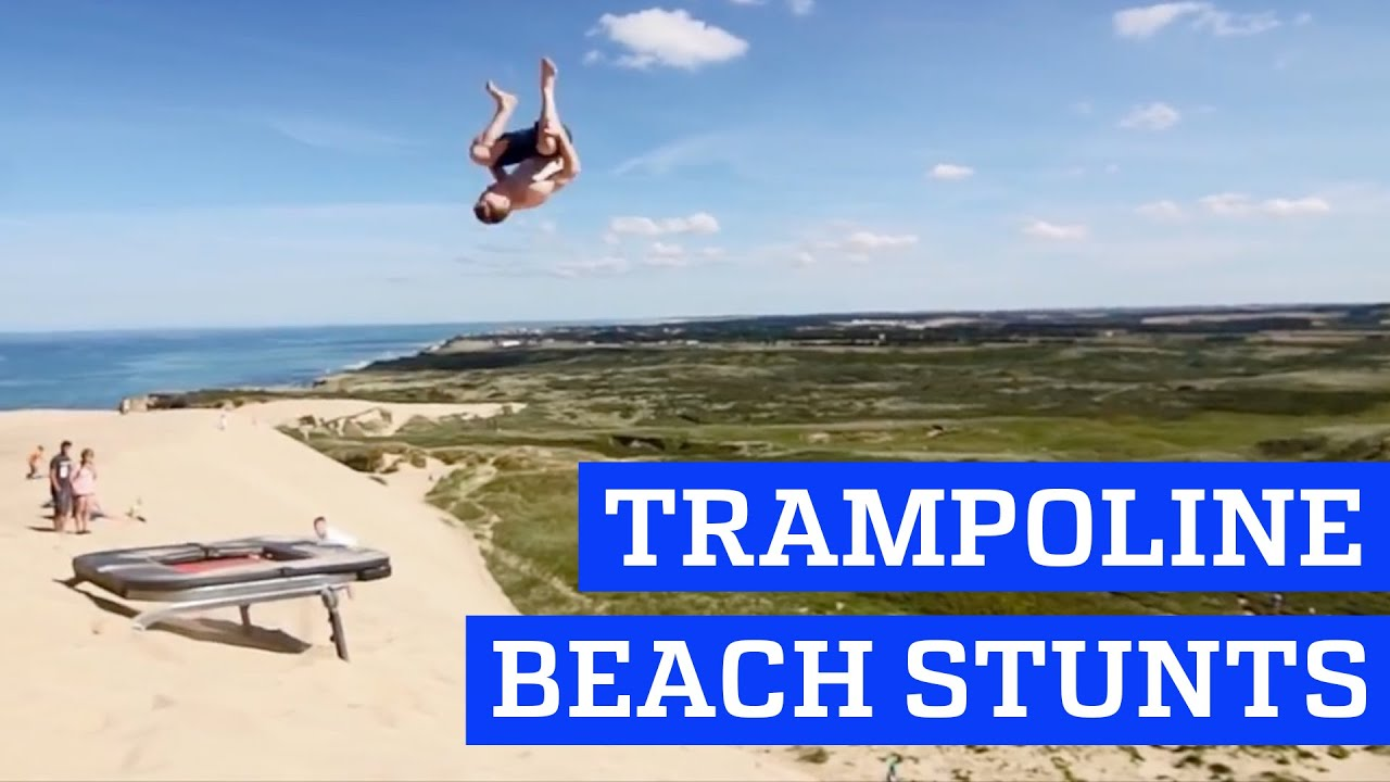Trampoline Stunts At The Beach People Are Awesome