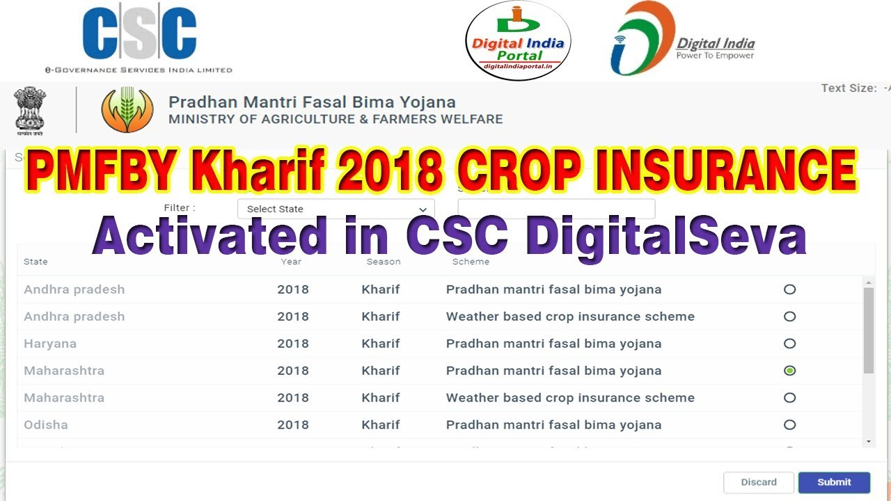 Pmfby 2018 Kharif Crop Insurance Activated In Csc Digital Seva