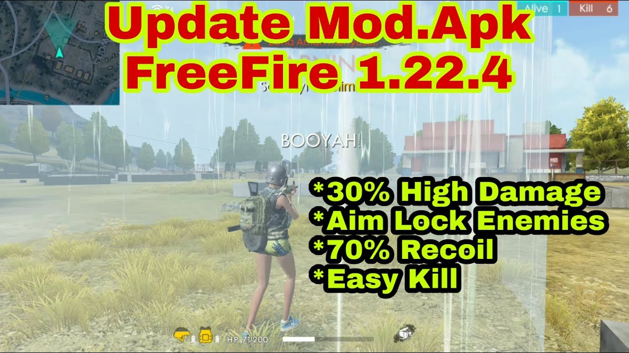 UPDATE MOD APK FREEFIRE 1 22 4 HIGH DAMAGE, AUTO AIM LOCK