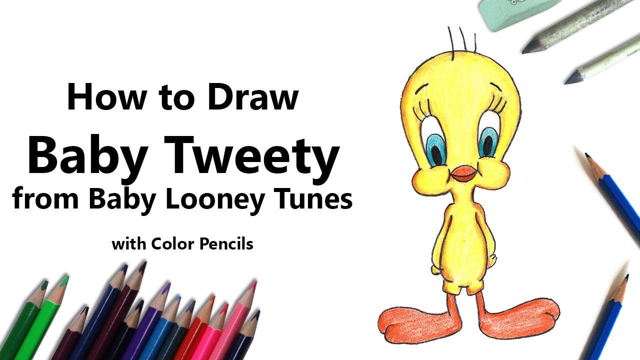 how to draw baby tweety from baby looney tunes with color pencils