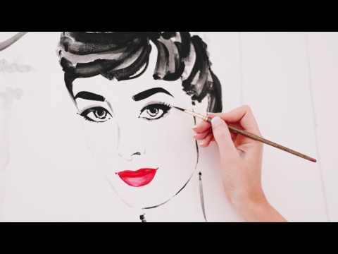 Kerrie Hess painting Audrey Hepburn Original Canvas