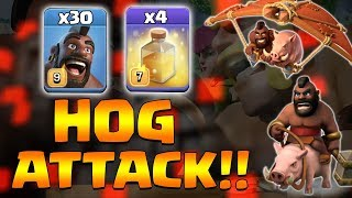 Hog Th12 Attack Strategy 2019! 30 Max Hog + 4 Healing Spell 3star TH12 War Attack | Clash Of Clans