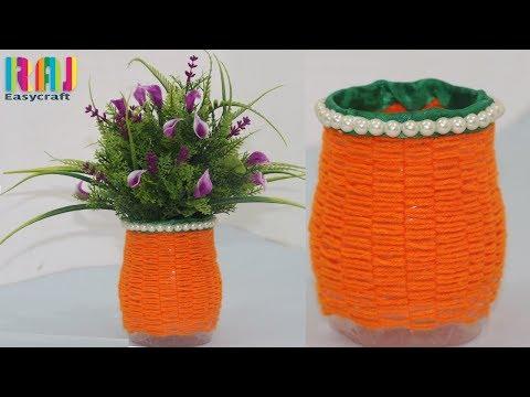 plastic bottle flower vase making | Waste plastic bottle craft | water bottle Reuse ideas