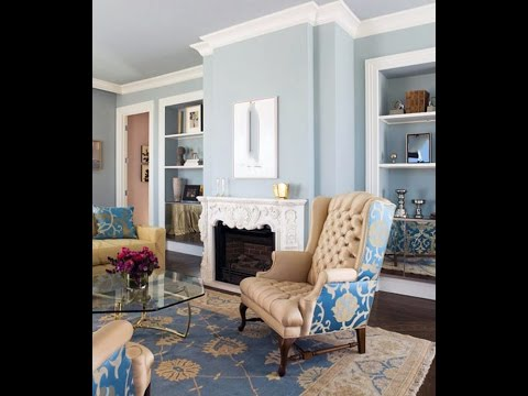 Blue and cream living room gallery - YouTube