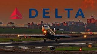 delta a320 b 717 md 88 action laguardia airport lga