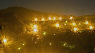 黄色い光。地上の星 神戸市西区・ナシ園の防蛾灯