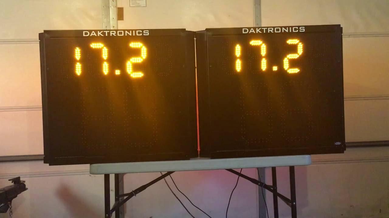 Two Daktronics BB-2111 Three Sided Shot Clocks