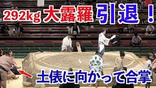 292kg大露羅が引退!最後の一番で白星を狙う!!大相撲2018秋場所 13日目 大露羅-樹龍