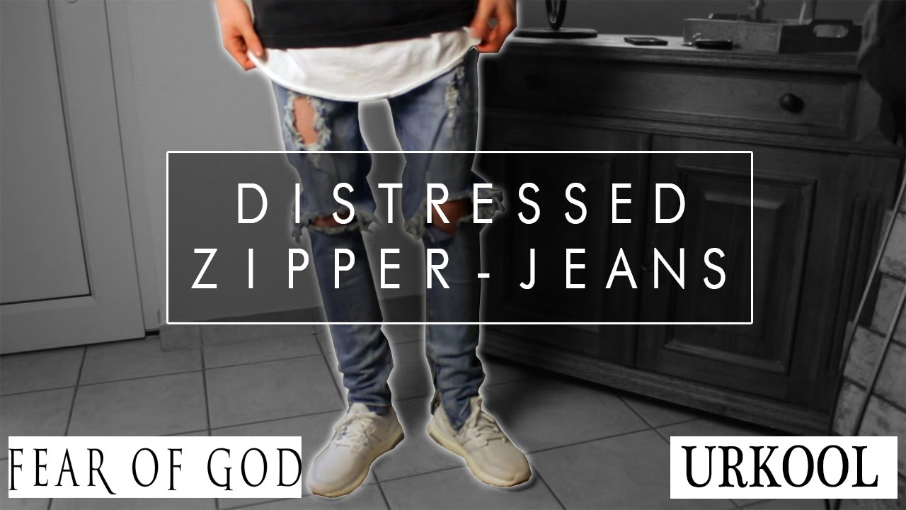 fce8aafb DISTRESSED ZIPPER JEANS | Fear of God Alternative?! | URKOOL | Jemand by  Jemand