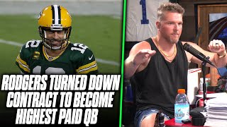 Pat McAfee Reacts Aaron Rodgers Turned Down Extension To Become Highest Paid QB