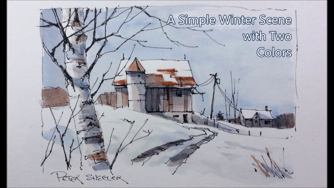 Line Drawing With Watercolor : Draw and paint snow shadows pen wash winter barn