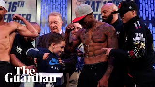 Billy Joe Saunders's son hits Willie Monroe Jr in the groin at weigh in –video