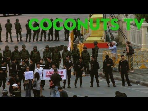Thailand anti-coup protests at Bangkok's Victory Monument - May 26, 2014