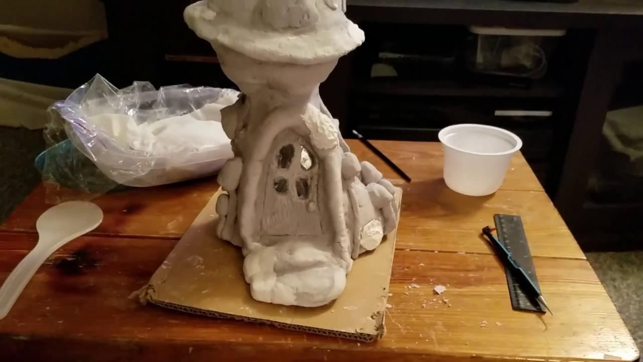 Diy air dry paper clay miniature mushroom house youtube