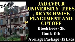 Jadavpur University   Fees , Branchwise Placement and Cutoff 2019