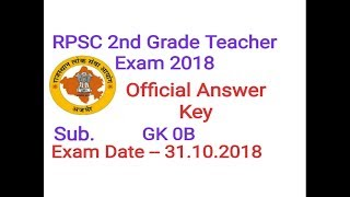 RPSC 2nd Grade 2018 GK 31 10 Official Answer Key