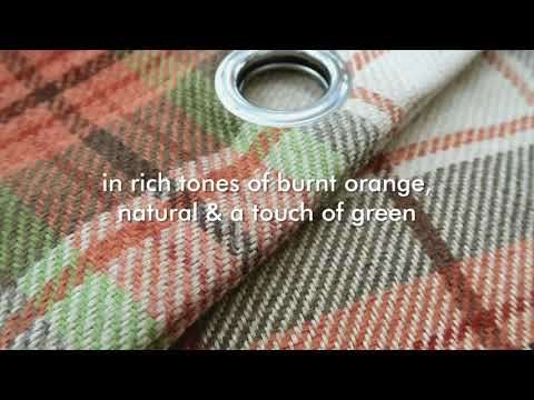 Catherine Lansfield - Brushed Heritage Check Burnt Orange Eyelet Curtains