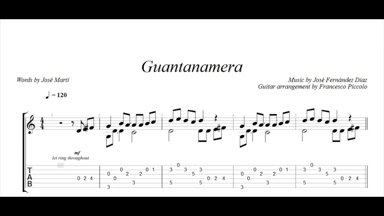 Fingerstyle Guitar Guantanamera From Latin Collection Nr1 Youtube
