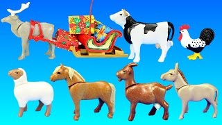Playmobil Country Farm Animals Building Toy Sets Collection For Kids - Christmas at the Farm Theme