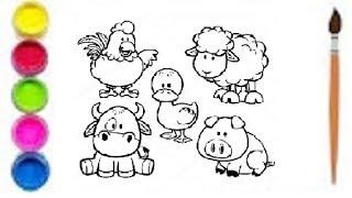 Как нарисовать ДОМАШНИХ ЖИВОТНЫХ/Мультик раскраска ДОМАШНИЕ ЖИВОТНЫЕ для детей/Учим цвета/МирИгрушек