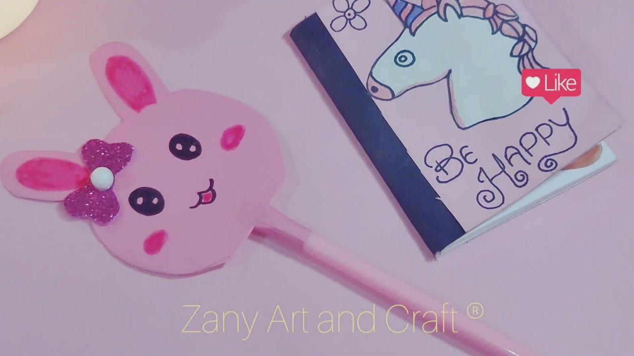diy cute bunny 🐰pen 🤩/diy cute school supplies/homemade cute pen/pen decoration  diy school supplies