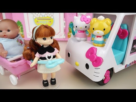 Hello Kitty food truck car toys with baby...