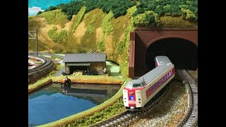 トンネル工事を終えたNゲージ鉄道ジオラマ淡海線_381系やくも+キハ85系ワイドビューひだ