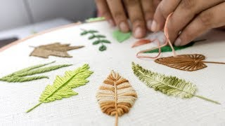 List of Various of Leaf Designs in Embroidery