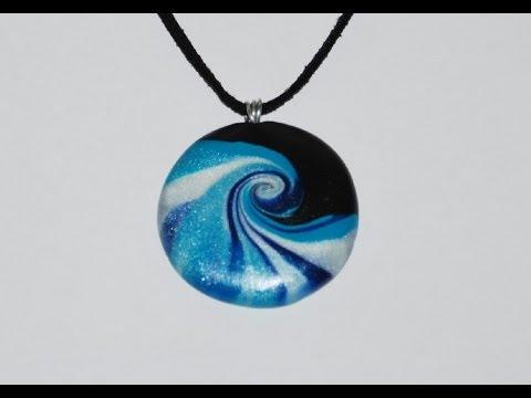 Swirled Polymer Clay Pendant - Ocean Wave