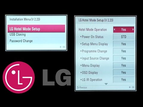 LG TV codes : Hotel mode , Installation Menu , USB cloning , Password change