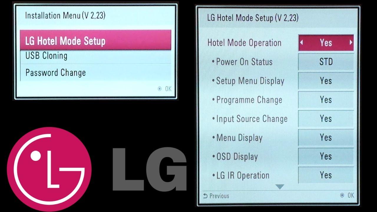 LG TV codes : Hotel mode , Installation Menu , USB cloning , Password change