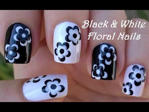 black & white floral nail art