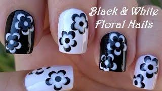 Gambar cover BLACK & WHITE FLORAL NAIL ART / LifeWorldWomen Collab Mimzie / Monochrome Nails