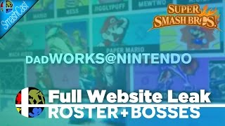 Smash Bros. WEBSITE LEAKED w/ FULL ROSTER+PLAYABLE BOSSES! (DadWorks@Nintendo Leak)