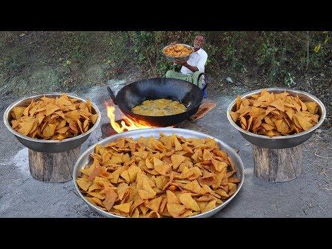 nacho-chips-snacks-recipe-|-nachos-corn-tortilla-chips-|-makki-ke-chips-by-grandpa