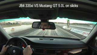 BMW N54 335i VS Ford Mustang GT 5.0L 1/4 Mile Drag Race