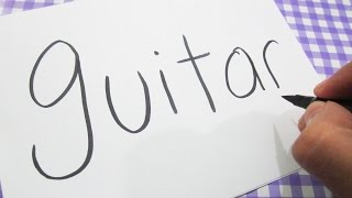 How to turn words GUITAR into a Cartoon ! Learn drawing art on paper for kids