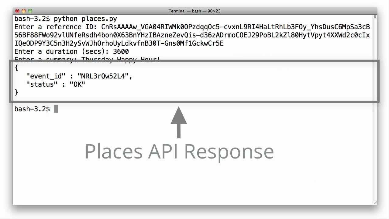 Google Places API: Events