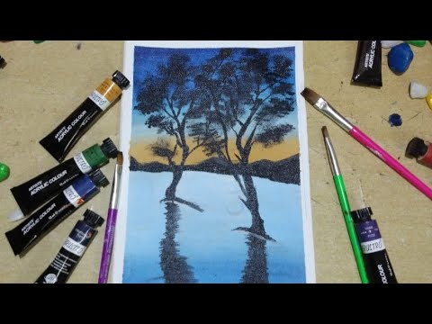 Easy acrylic painting tutorial / beautiful landscape painting for beginners / easy and satisfying