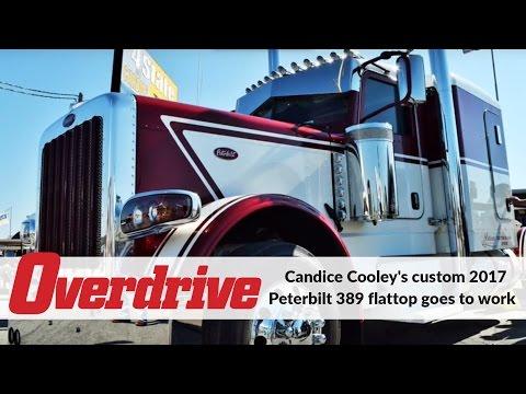 Candice Cooley's custom 2017 Peterbilt 389 flattop goes to work