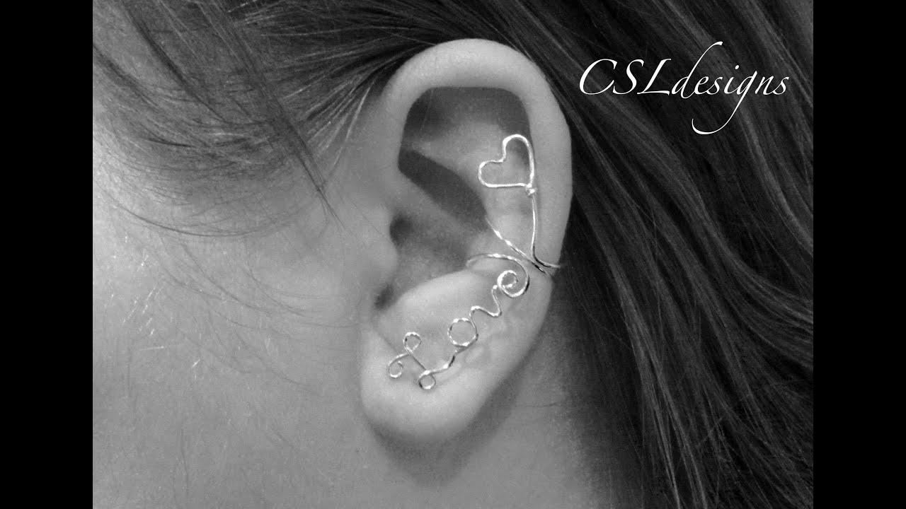 Wirework love ear cuff ⎮ Valentine\'s Day - YouTube