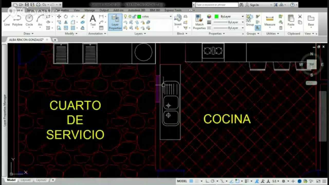 Plano de casa habitacion en autocad youtube for Plano habitacion online