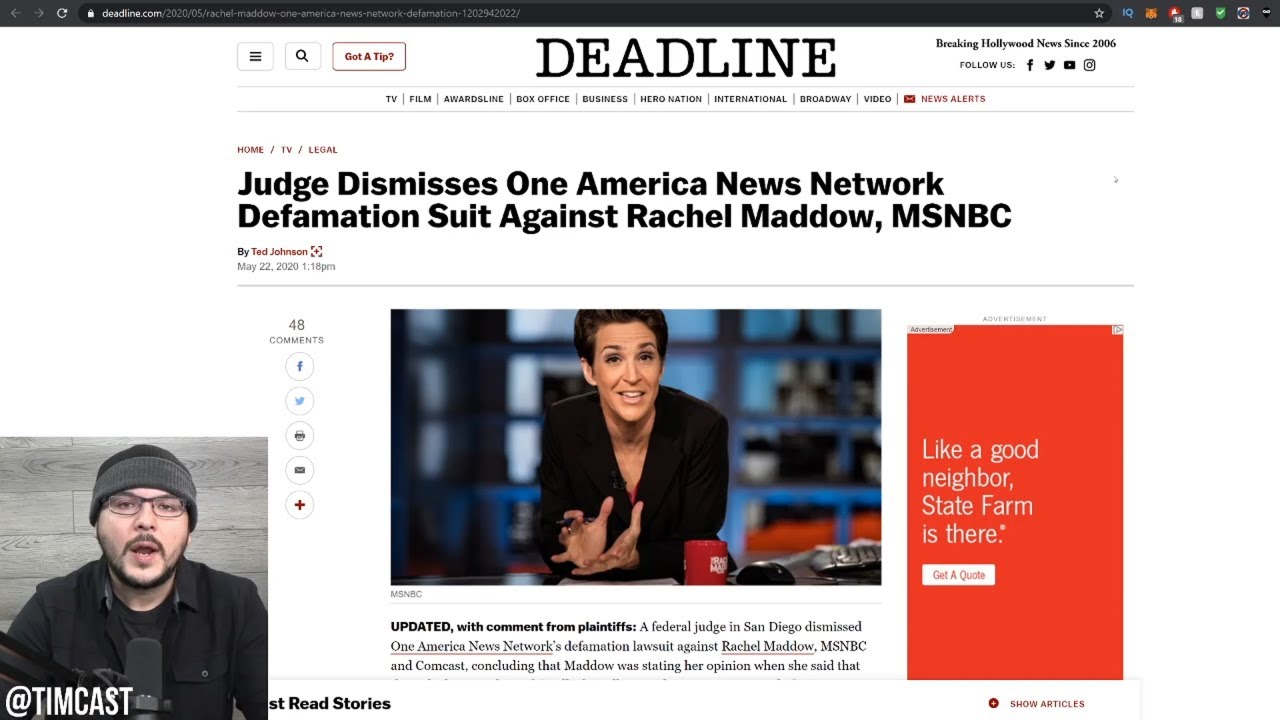 Rachel Maddow WON The Defamation Case By OAN??! Our Defamation Laws Are BROKEN