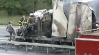 Wrong way crash, driver jumps through flames