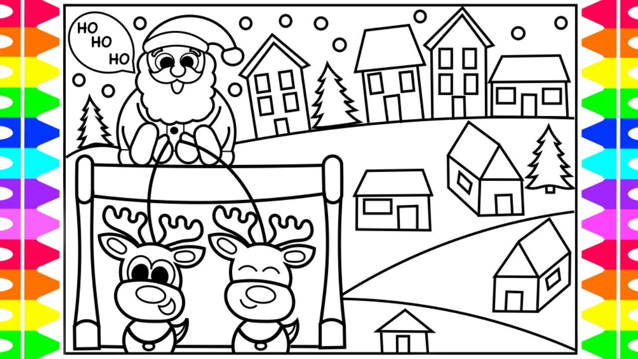 how to draw santa claus coming to town step by step for kids santa is coming to town coloring page