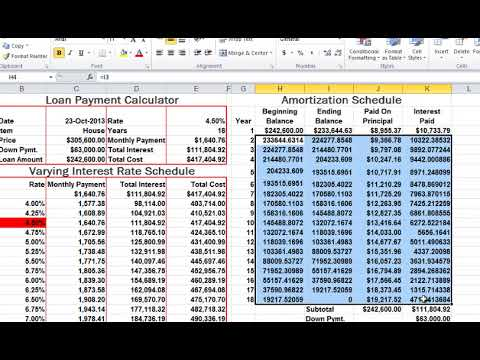 ms excel amortization schedule