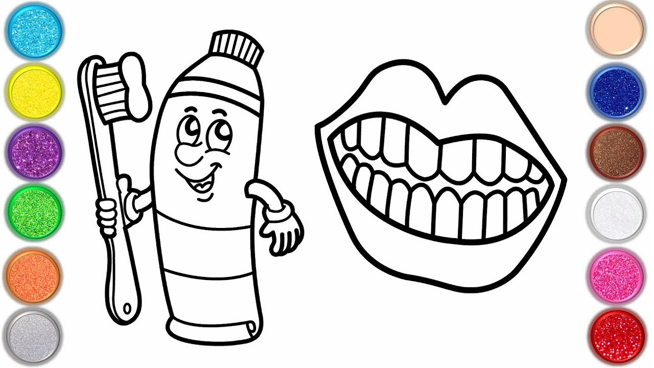 Drawing And Coloring Teeth And Toothbrush Page For Kids Drawing