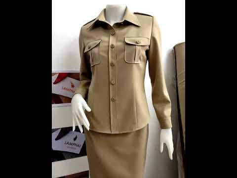 Uniform ชุดข้าราชการสีกากีแขนสั้นแขนยาว ลำพายปารีส Lamphai