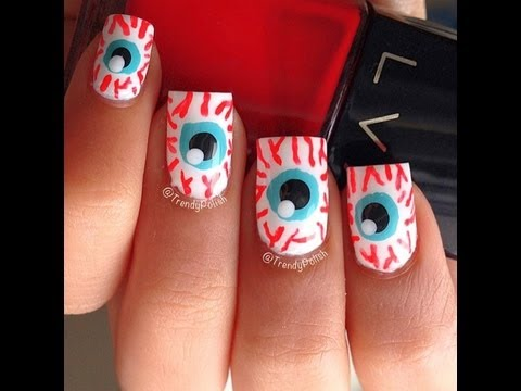 Halloween 2013: Eyeball Nail Art Tutorial - YouTube
