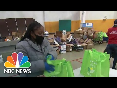Long Lines Form At Food Banks Ahead Of Thanksgiving   NBC Nightly News